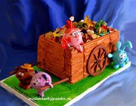 Торт Смешарики с тележкой сладостей