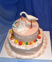Торт Аист с близнецами