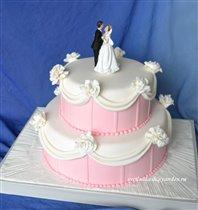 Торт Свадебный в розовом