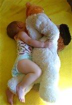 Сладко спится с любимой игрушкой.
