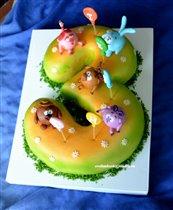 Торт Смешарики на троечке