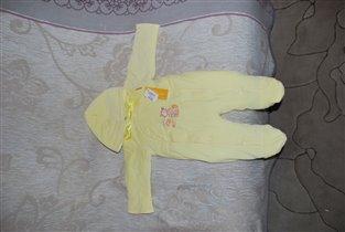 Утелпленый велюровый мягкий комбез  р. 68 желтый