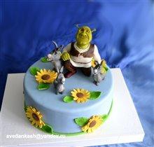 Торт Шрек с осликами