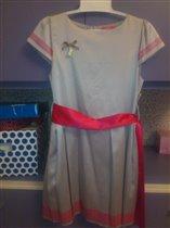 Атласное платье 122-128 см