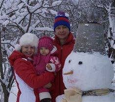 наш первый снеговик для дочки!