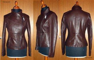 Кожаная куртка косуха коричневая