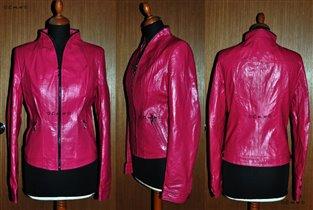 Стильная куртка-пиджак на молнии цвета фуксия