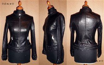 Кожаная куртка с рюшами