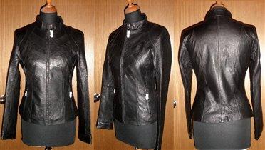 Кожаная куртки с декоративными ярусами кожи - елоч