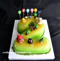 Торт Angry Birds на двоечке.