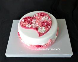 Торт Цветущее сердце