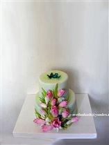 Торт Тюльпаны и бабочки