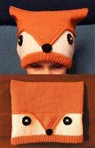 Оранжевая шапка-лисенок . Р-р 54-56.Цена 300р