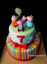 Торт Свинка Пеппа с семьёй