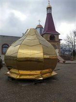 Установка нового купола храм Георгия Победоносца