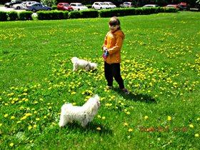 Дочурка с любимицами на прогулке.