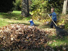 Папе с мамой помогаем - сад мы чисто убираем!