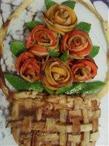 Цветы и корзина из баклажан...