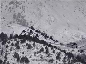 Домик в горах и дерево рядом ... leonidevteev.ru