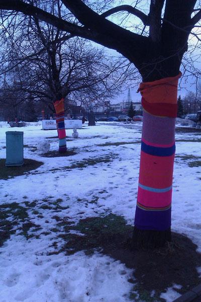 деревья в вязаной одежде