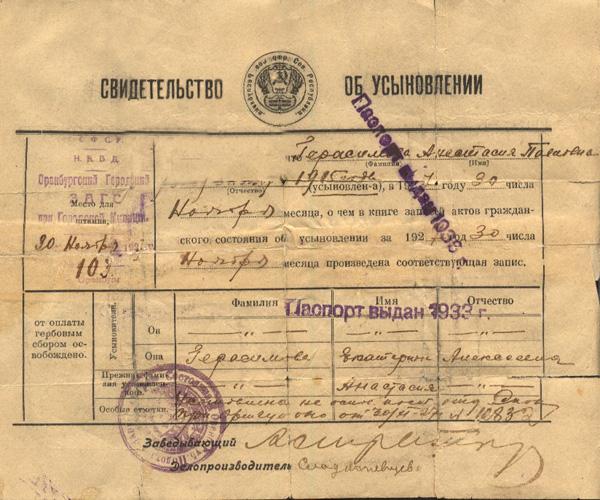 Свидетельство об усыновлении 1927г.. В защиту детей