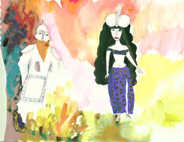 явление Шамаханской царицы. Рисунки детей старше 7-ми лет