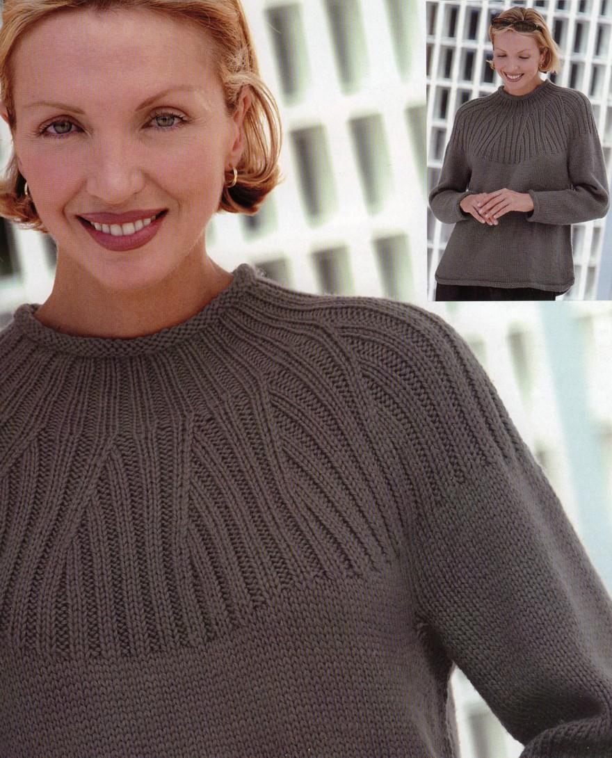 Вязать свитер сверху на круглой кокетке фото