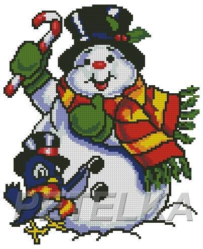 Снеговик с птичкой. Мои схемы / My designes