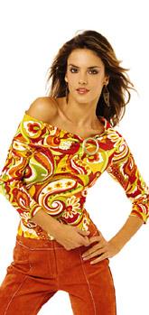 Сексуальная яркая блузка . одежда