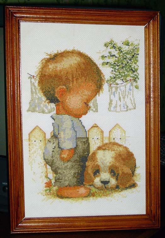 Мальчик с собакой. МОИ ВЫШИВКИ