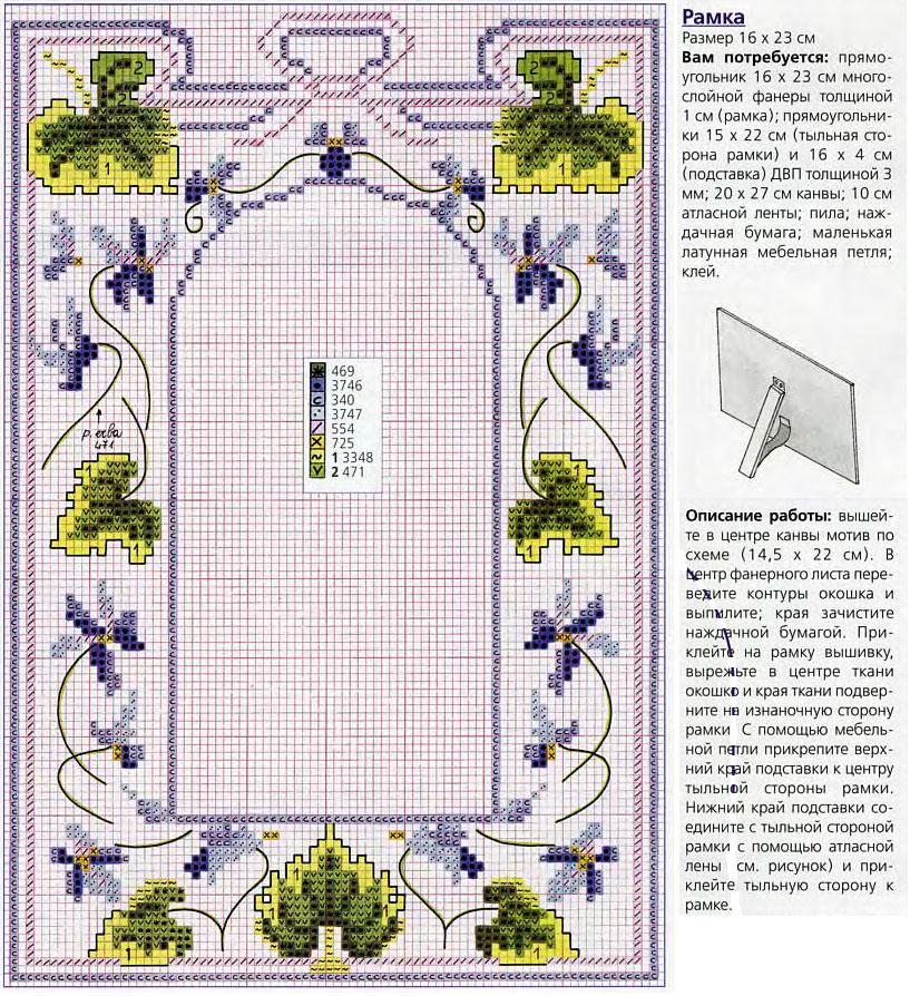 вышитые рамки для фото крестом схемы