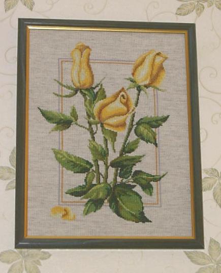'Желтые розы'.. Вышивальный конкурс 'Я цветочки вышивала...'