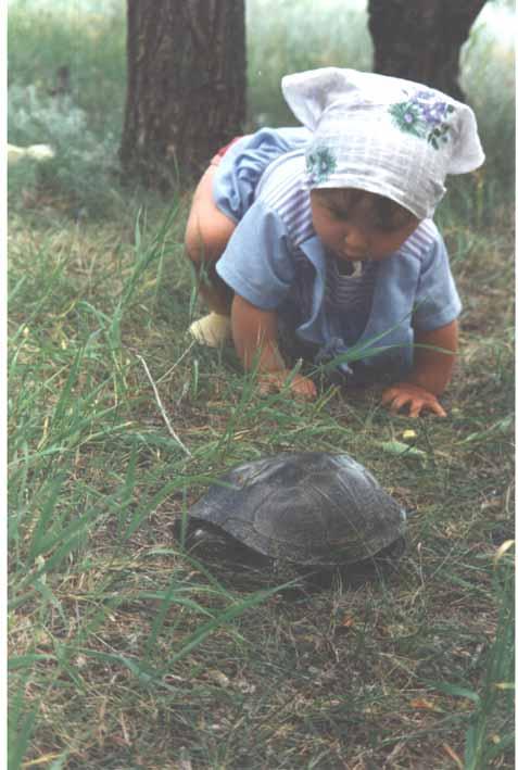 Лера с черепахой. Ребята и зверята