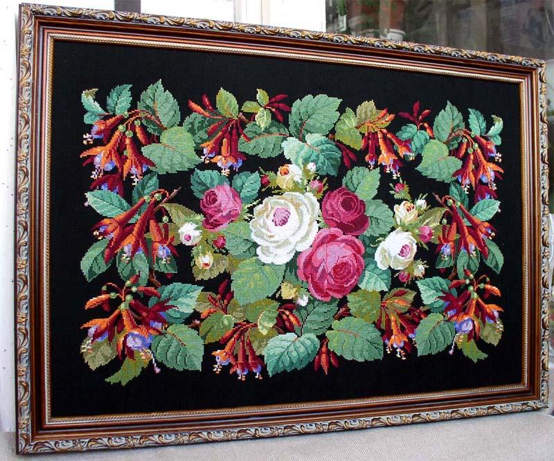 Розы и фуксии. Вышивальный конкурс 'Я цветочки вышивала...'