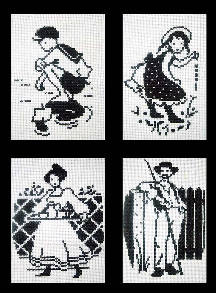 Четыре черно-белые картинки. МОИ ВЫШИВКИ