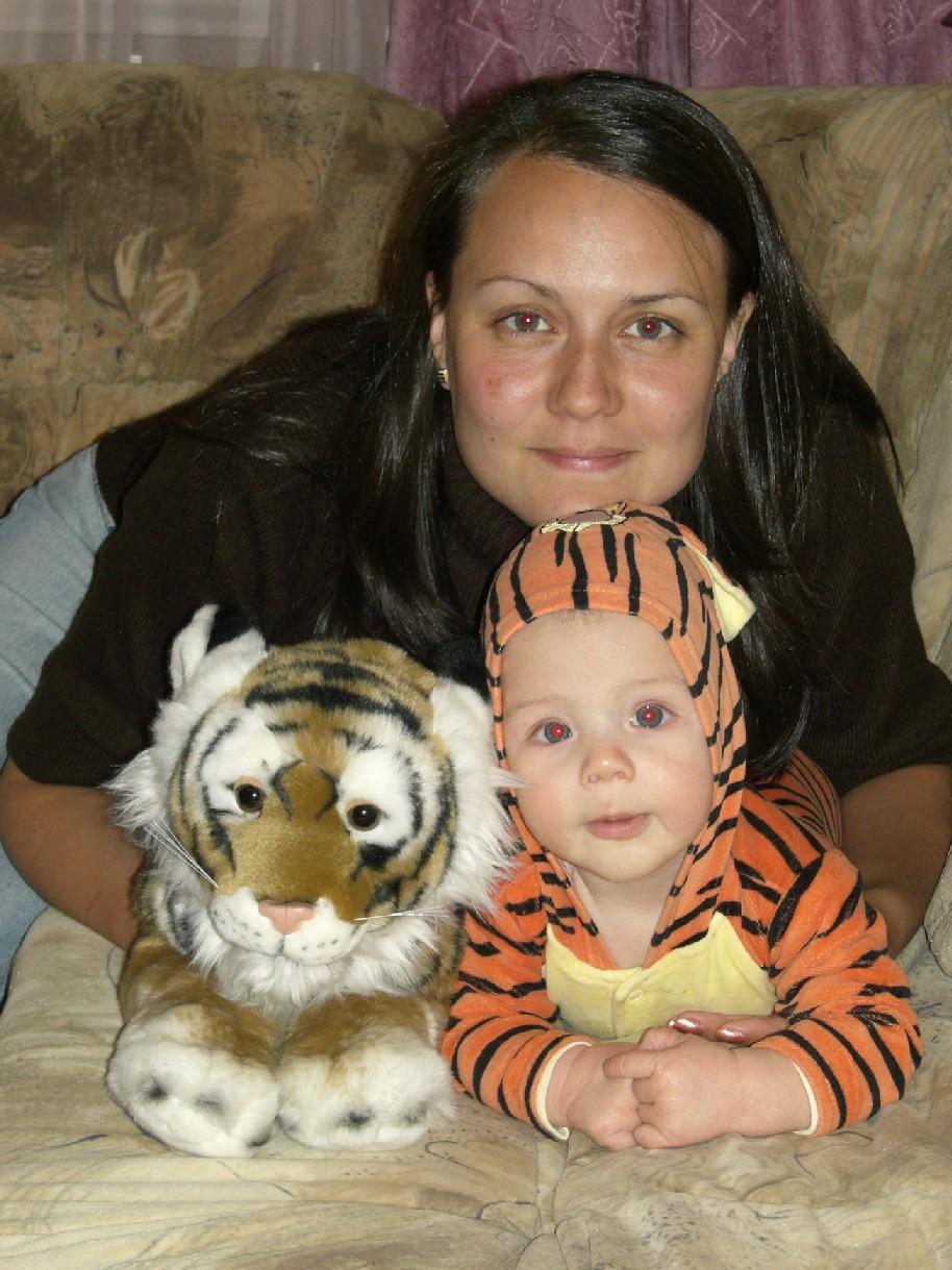 Два тигренка и Аленка. Я и моя малышка
