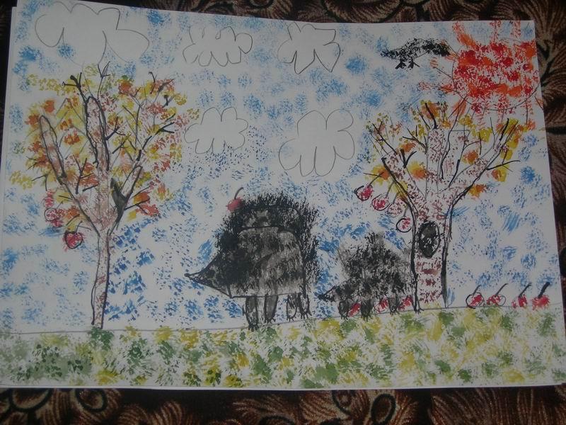 Ежики на прогулке. Конкурс детского рисунка с ВООБРАЖАЛКИНЫМ