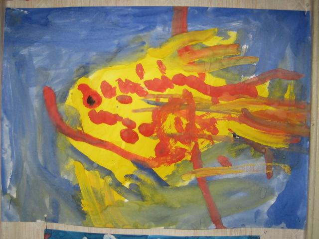 Золотая рыбка.   Настюшина работа в 3 года. Конкурс детского рисунка с ВООБРАЖАЛКИНЫМ