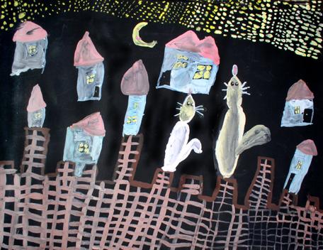 Кот и Кошка сидят на крепости и смотрят на звезды. Конкурс детского рисунка с ВООБРАЖАЛКИНЫМ