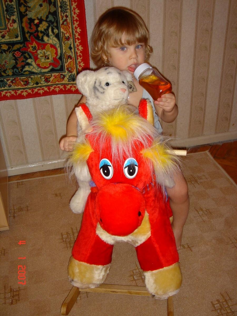 Я и все что я люблю - киса, бутылка и лошадь. Дети с игрушками