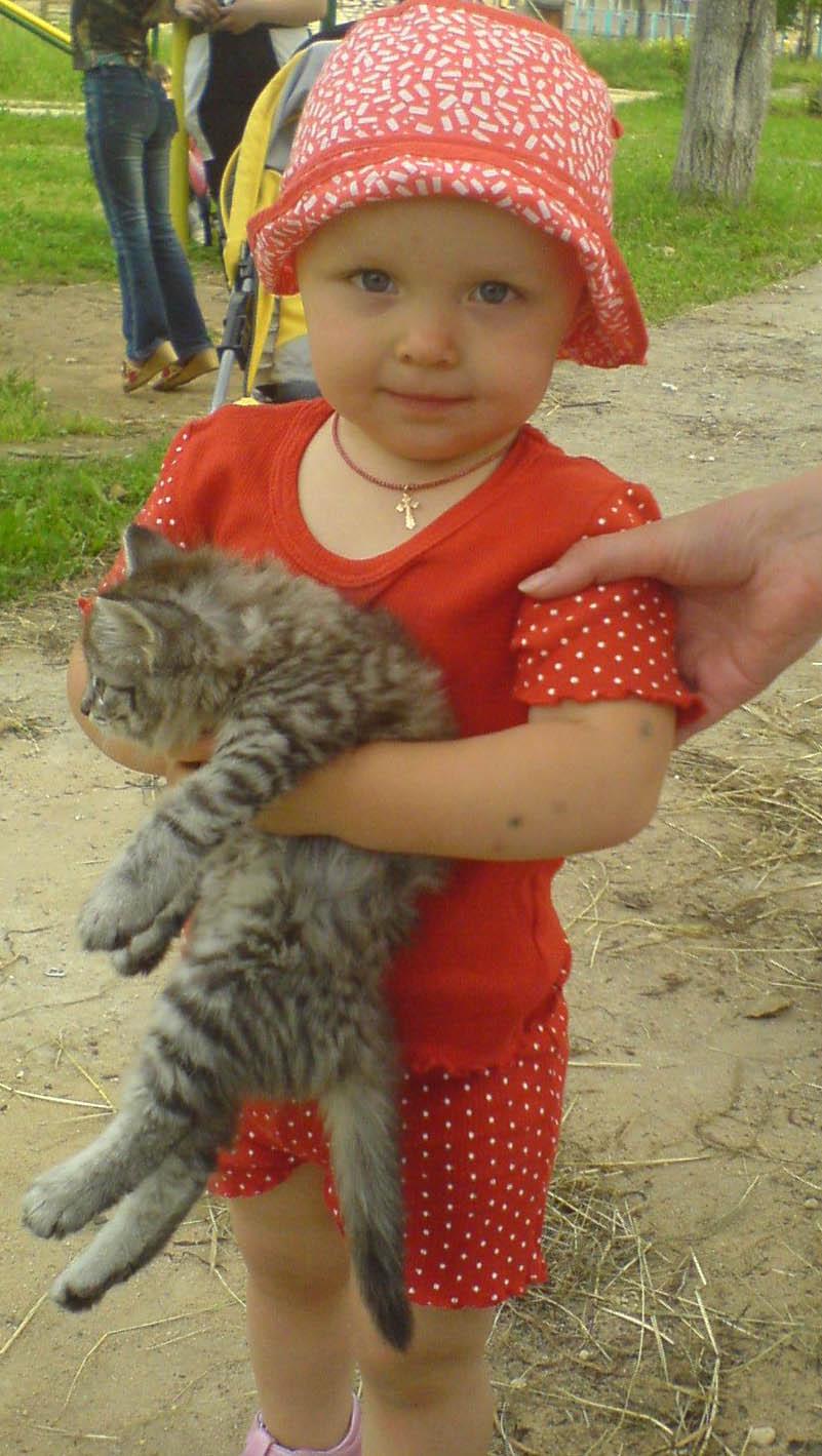 Настенька и котёнок!. Ребята и зверята