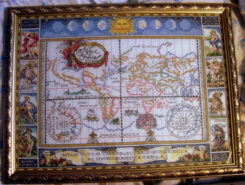 Старинная карта кругосветного путешествия.. Зодиак, небо, карты