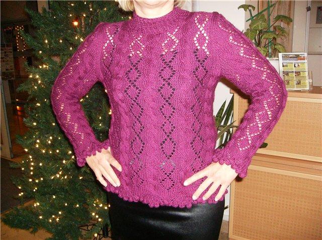 Лиловый пуловер. Одежда