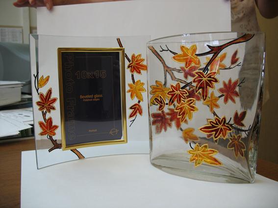 Комплект 'Осенние листья'. Стекло, керамика