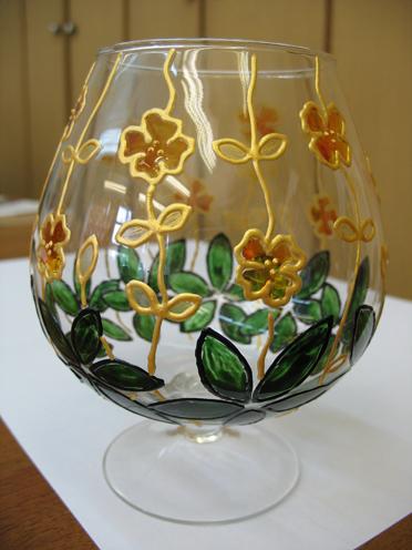Бокал 'Желтые цветы'. Стекло, керамика