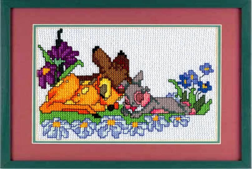 Спящие зайка и оленёнок. Забавные картинки