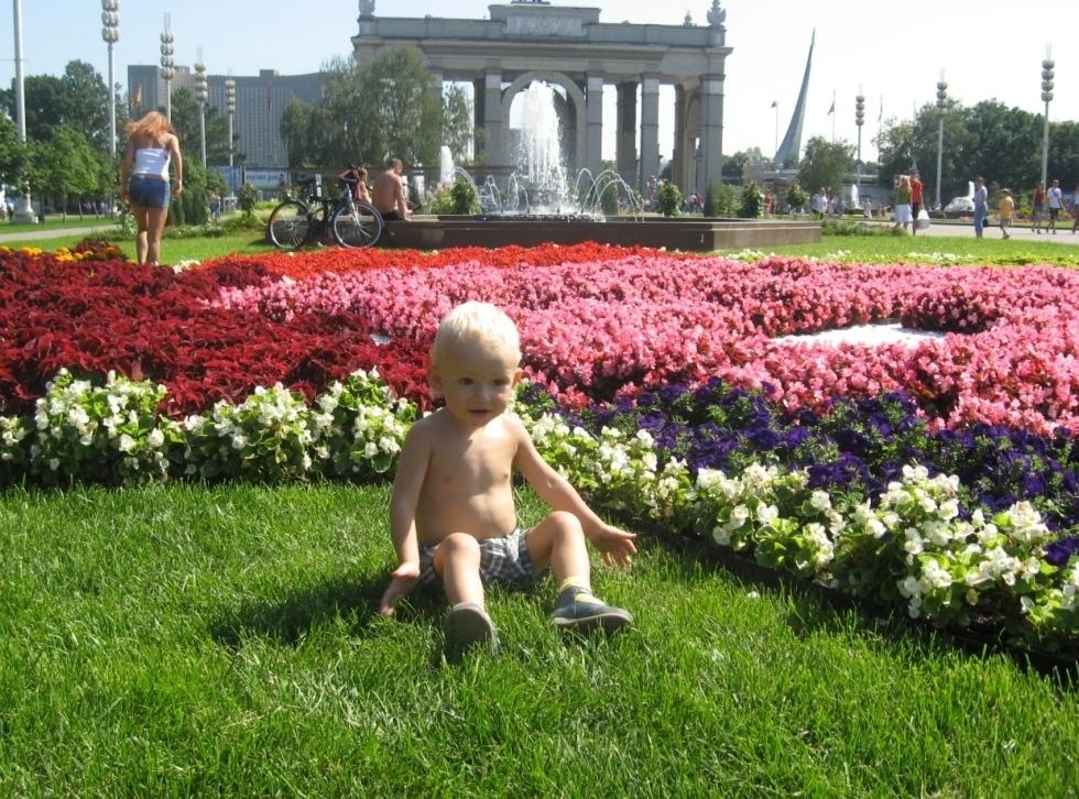 Среди цветов. Дети на прогулке
