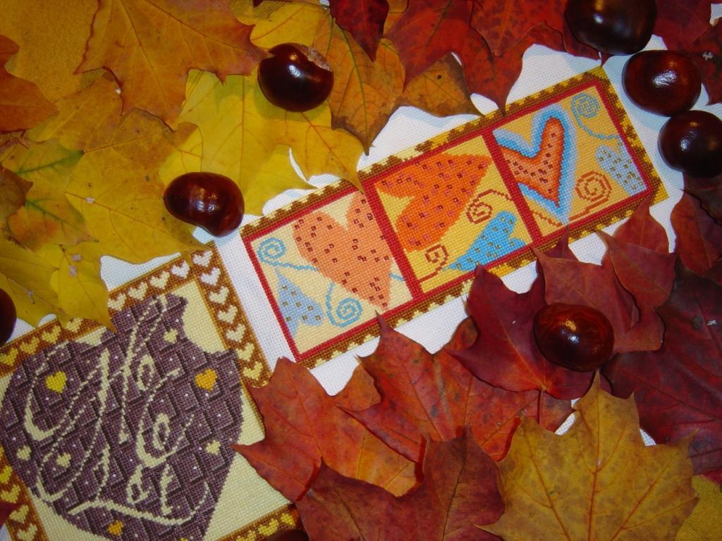 Осень. Вышитые валентинки