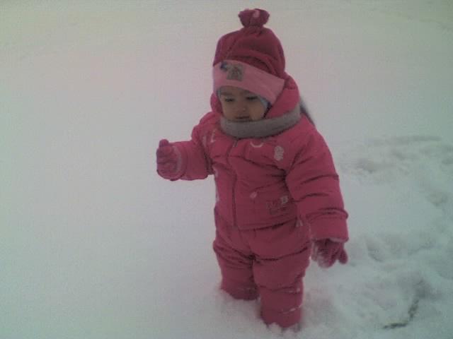 первый снег. Дети на прогулке