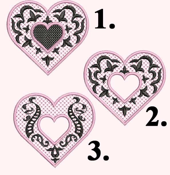 Готическая Валентинка, Дизайн машинной вышивки. Вышитые валентинки